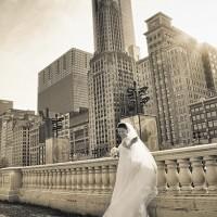 fotografii cu mireasa in peisaj urban
